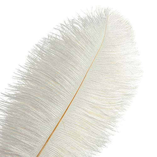 Piokio 20 pcs White Ostrich Feathers Plumes 12-14 inches(30-35 cm) in Bulk for Gatsby Wedding Party Centerpieces Decorations
