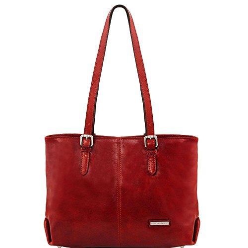 Tuscany Leather Annalisa - Bolso shopping en piel con dos asas - TL141478 (Marrón) Rojo