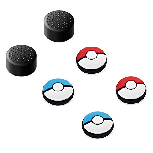 Jamont Gaming Rubber Thumb Cover Compatible Switch Joycon Controllers Button Stick, Switch Analog Thumb Joy Con Joystick Thumbstick Grip Skin Cap, Red Blue Switch Caps
