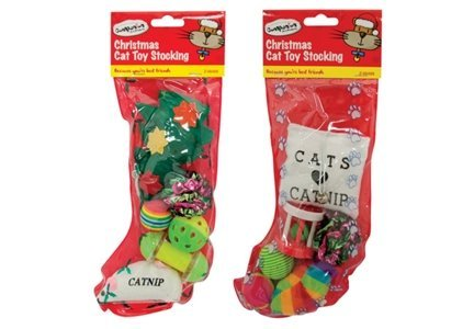 Pet Cat Christmas Xmas Stocking with Cat / Kitten Toys 2/pk by ...