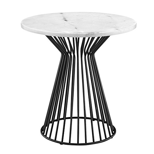 Madison Park MP120-0085 Marbury Accent Metal Wired Frame Hour Glass Shaped Retro Design with Marble Top Mid-Century Modern Style End Table, 22 Inch Wide, 22