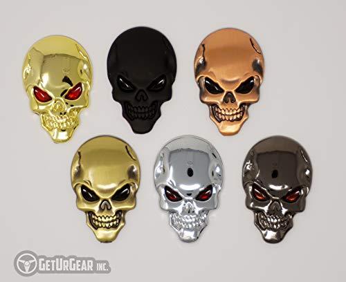 GetUrGear 2x 3D Skull Badge Metal Car Motorcycle Decal Emblem Set (Chrome)