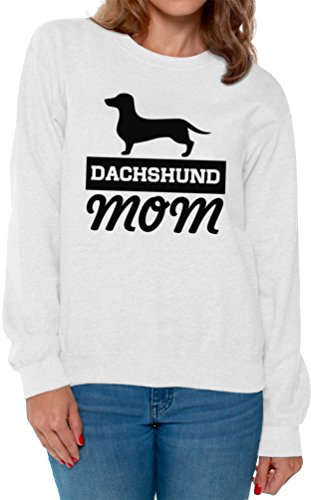 Awkward Styles Women's Dachshund Mom Sweatshirt Crewneck Dog Mom Sweatshirt Crewneck White L