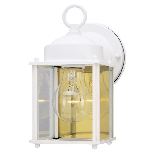 (Westinghouse Lighting 6697100 One-Light Exterior Wall Lantern, White Finish on Steel with Clear Glass Panels)