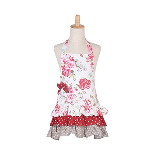Aprons Kids Cooking (G2Plus Cotton Canvas Kitchen Toddler Apron with Pockets Floral Ruffles Apron for Kids Cooking Baking Apron Great for Kid Girl Daughter (Red Flower with Red bow))