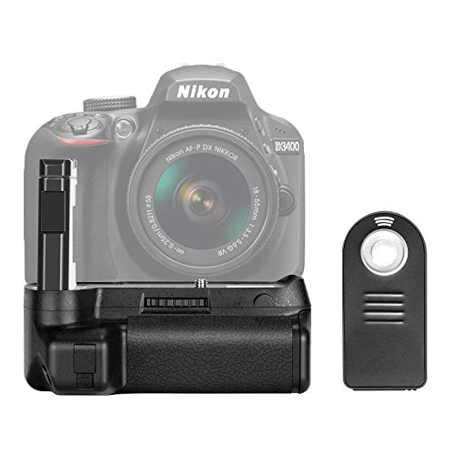 Neewer Battery Grip for Nikon D3400 DSLR Camera Vertical Shutter Release Button Work with One or Two EN-EL14a Battery -