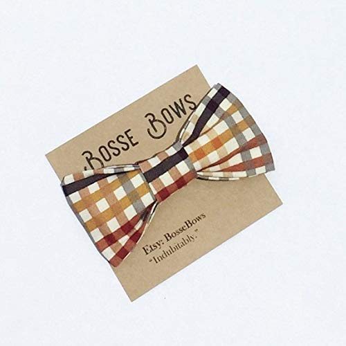 Brown Plaid Bow Tie for baby boy toddler kids adult clip on bow tie
