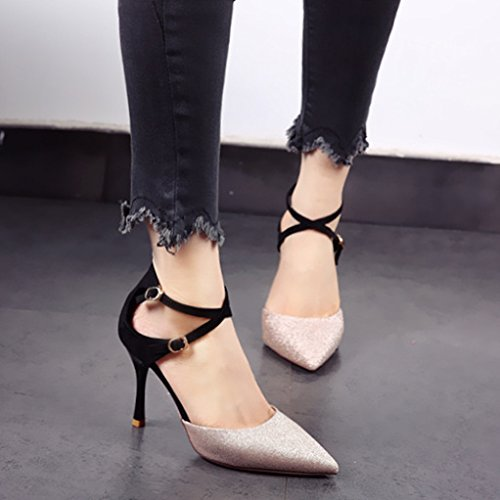 Single Buckle Hollow Heel Leisure Sharp Shoes Work Heels Shoes Women'S Lady Shoes Shoes Gold 9Cm Spring Sexy Cross Fine 39 MDRW Wedding Elegant 6x4faqnzwZ