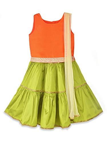 K&U Girls' Orange and Green Dupion Taffeta Sleeveless Lehenga Choli