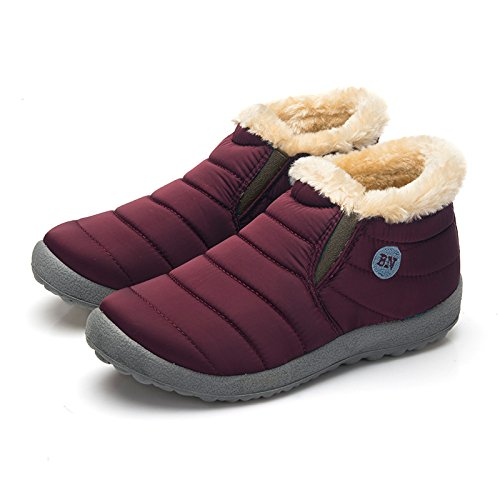 Hopestar Dames Unisex Paar Winter Bont Gevoerde Waterdichte Snowboots Rood