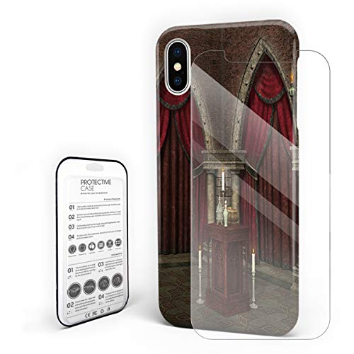 (Protective Phone Case for iPhone X Case Cover, Mysterious Dark Room in Castle Ancient Pillars Candles Ancient Pattern, Shockproof Anti-Scratch Hard Back Case with Tempered Glass Screen Protector)