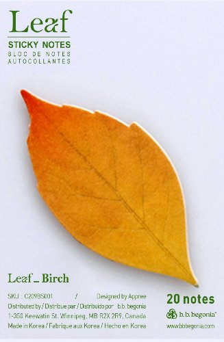 Free b.b.begonia Leaf_ Birch Sticky Notes, Brown, Small