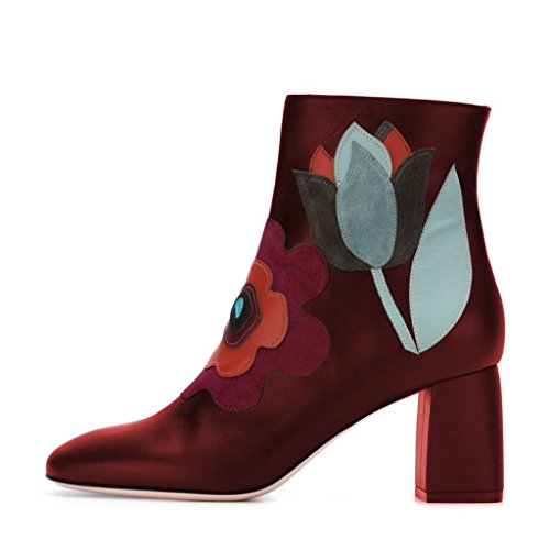 Fsj Femmes Fabuleuses Bout Rond Cheville Bottes Chunky Talons Floral Cousu Confortable Chaussures Taille 4-15 Us Rouge