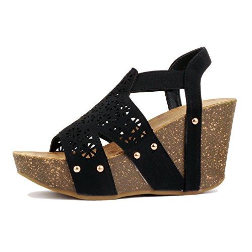 - Guilty Heart - Womens Cutout Gladiator Lace up Stiletto High Heel Open Toe Sandal Platforms & Wedges, Blackv5 Pu, 10 B(M) US