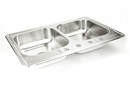 "Drop In Stainless Steel Sink 33"" x 22"" x 8"" Top Mount Kitchen Sinks 20 Gauge 50/50 Double Bowl Deep Dual Basin 33 Inch 22 Inches Self Rimming Dropin Over Mount T-304 20G Four Hole Design Great for RV by Walter Sinks"