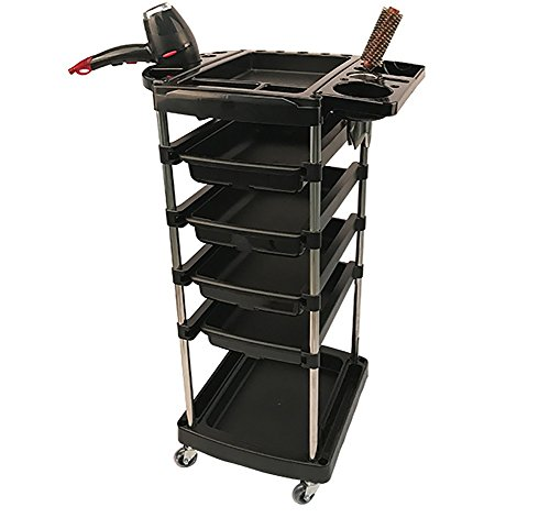 Hairdresser Trolley Salon Rolling Storage Cart With Hair Dryer Holder Spa Hair Stylist Beauty Barber Tray Drawers Roller 6 Tier Black