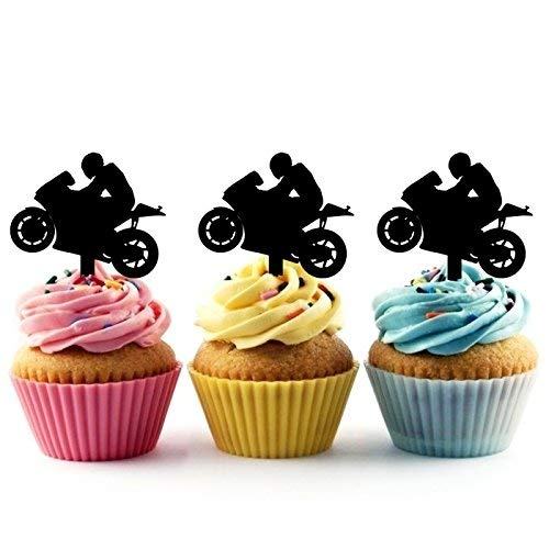 Motorcycle Racing Sport Silhouette Acrylic Cupcake Toppers 12 pcs -