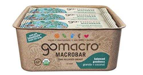 GoMacro MacroBar, Organic Vegan Protein Bar, Granola + Coconut, 12 Count