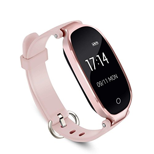 Fitness Tracker,Women Smart Fitness Watch, Heart Rate Monitor Smart Bracelet IP67 Waterproof Smart Bracelet with Health Sleep Activity Tracker Pedometer for Smartphone. (Rose Gold) -