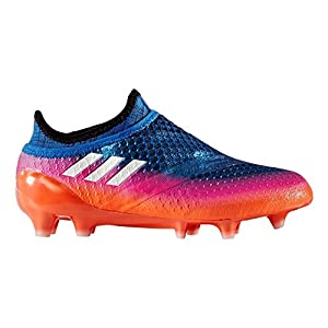 adidas Youth Soccer Messi 16+ Pureagility Firm Ground Cleats, 4.0 D(M) US, Blue / Running White / Black