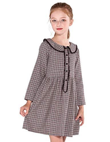 SOLOCOTE Girls Plaid Dress Spring Long Sleeve Dresses Peter Pan Collar -