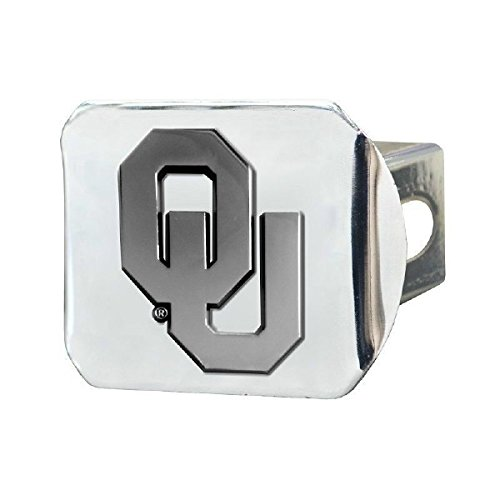 """Oklahoma Sooners NCAA 2"""" Chrome Metal Tow Hitch Receiver Cover 3D Design - NEW by Creative Sports"""