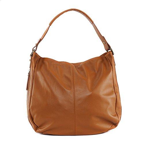 OH MY BAG Sac à main femme cuir souple - Modèle Cannes Cognac