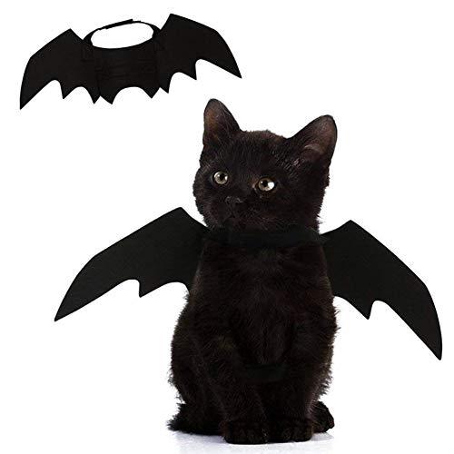 AOFITEE Halloween Cat Dog Costumes Pet Black Devil Bat Wings, Festival Fancy Dress Up for Halloween Christmas Events ()