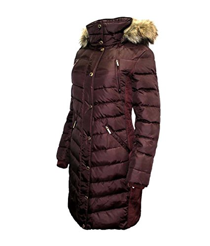 Michael Kors Puffer Down Coat with Zip-Out - Michael Burgundy Kors