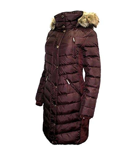 Michael Kors Puffer Down Coat with Zip-Out - Burgundy Michael Kors