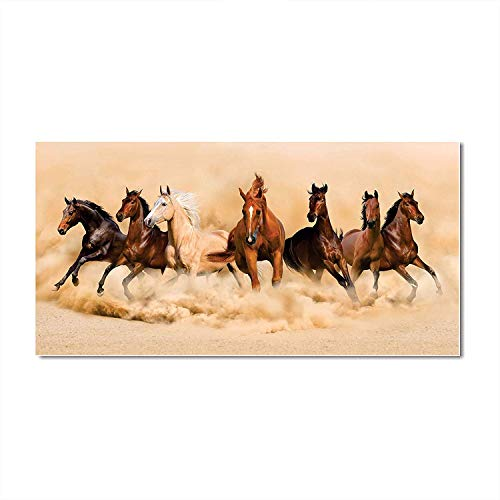 AH Decals Wall Sticker Vastu Running Horses Sticker for Living Bed Room Office Space (Size:- 40 cm X...