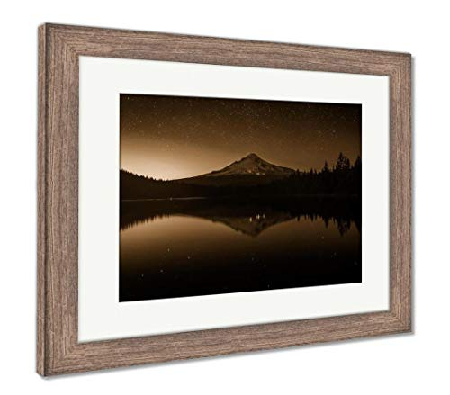 (Ashley Framed Prints Stars in The Night Sky and Mount Hood Reflecting in Trillium Lak, Wall Art Home Decoration, Sepia, 26x30 (Frame Size), Rustic Barn Wood Frame, AG5626444)