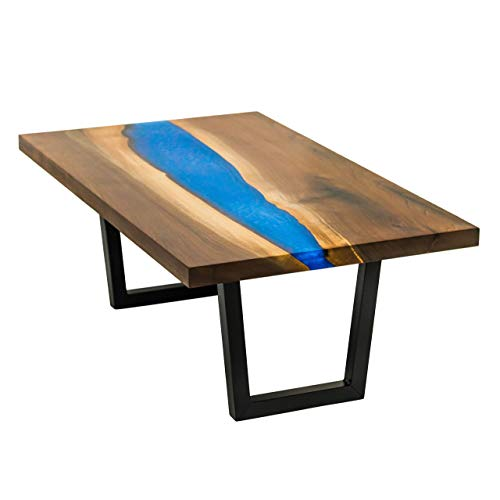 River Coffee Table From Live Edge Walnut with Sparkling Blue Epoxy Resin