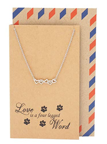 - Quan Jewelry Pet Lover Gifts for Women Paw Print Necklace, Animal Lover Charm, Dog, Cat Paw Pendant, Gifts for Her with Greeting Card