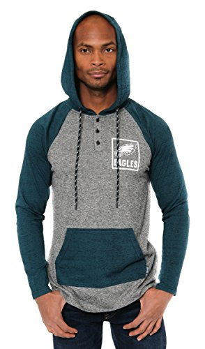 - ICER Brands Adult Men Fleece Hoodie Pullover Sweatshirt Henley, Team Color, Green, Small
