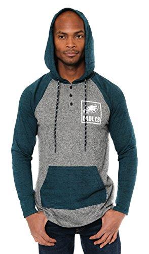 Icer Brands NFL Philadelphia Eagles Men's Fleece Hoodie Pullover Sweatshirt Henley, Medium, Green