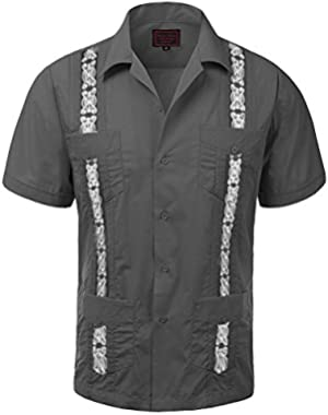 Maximos Men's Guayabera Two Tone Cuban Beach Wedding Short Sleeve Button-Up Casual Dress Shirt