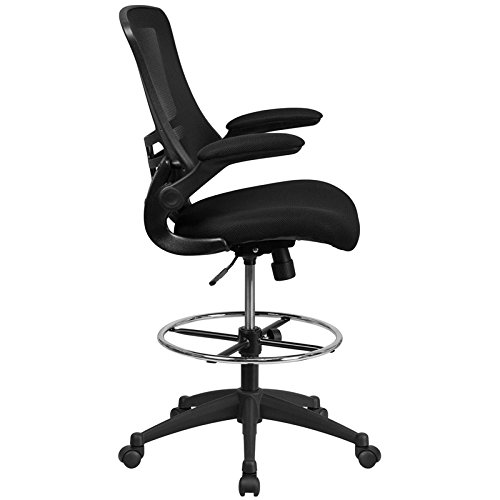 Kenwood M Mid-Back Mesh Ergonomic Drafting Chair with Adjustable Foot Ring and Flip-Up Arms