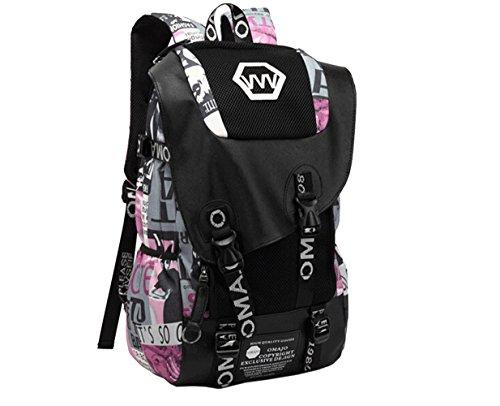 WTUS Hombre gran capacidad de los estudiantes de secundaria la mochila mochila de tela de tendencia de moda hombres hombros mochila de viaje Bolsas Rosa