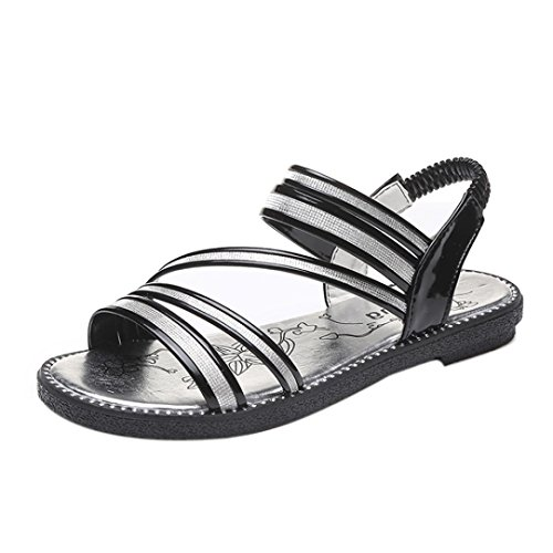 Anxinke Summer Comfortable Shoes Flat Sandals for Women Black