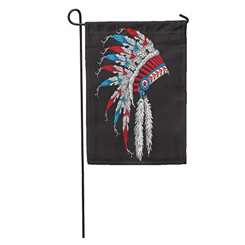 Semtomn Garden Flag Blue American Indian Tribal Graphics Native Headdress Chief Head Aboriginal Home Yard Decor Barnner Outdoor Stand 28x40 Inches Flag