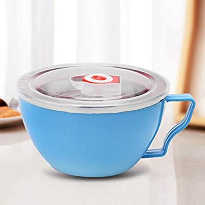 COFFLED Stainless Steel Bento Lunch Box,Double-Lids Food Storage Container with Anti-scalding Effect(Blue color)