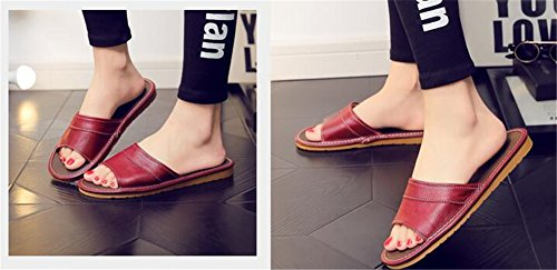 for Wooden Men Smelly TELLW Slippers Cowhide Vin Floor Corium Rouge Summer Anti Leather Spring Autumn Women W FwwS1xqPC