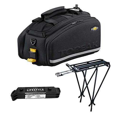 - Topeak MTX EXP Bicycle Trunk Bag with Folding Panniers and Explorer Rack Bundle, with Lifestyle by Focus Tire Levers Set | Waterproof Fabric Bag with Divided Main Compartment