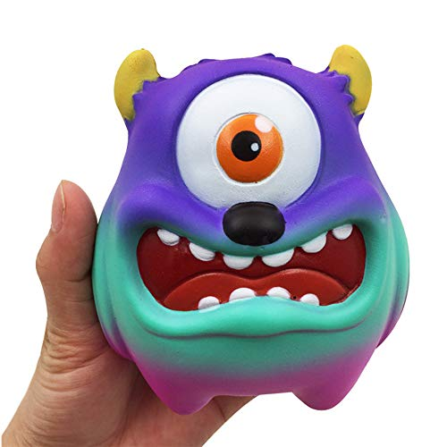 """Squishies Monster 4.3"""" Slow Rising Scented Charms Squishy Toys Kawaii Stress Relief Soft Squeeze Toys Funny Cute Decoration Toys Gift(Rainbow Purple) ()"""