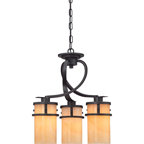 Quoizel KY5503IB Kyle Faux Alabaster Downlight Mini Chandelier, 3-Light, 300 Watts, Imperial Bronze (20