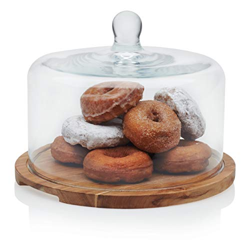 Libbey Acaciawood Flat Round Wood Server Cake Stand with Glass Dome (With Marble Stand Cake Dome)