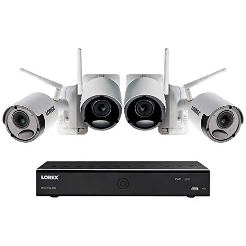 Diurnal 6-Channel 1080P HD Wire-Free Battery-Powered Camera System with 4 White Metal Cameras