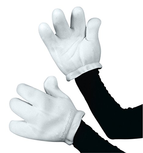 Vinyl Cartoon Gloves White Adult Costume (Cartoon Gloves)