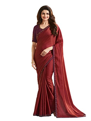 Indian Sari Fashion Designer Ethnic Simple Look Saree Starwaik 33 (Maroon)